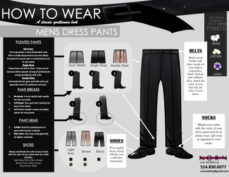 How to wear dress pants info graphic