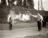 An inventor testing the final version of his bullet proof vest